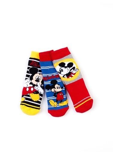 Mickey Mouse Disney 6'lı Kaydırmaz Çocuk Çorap 17064 Kırmızı
